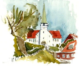 Church, Roenne, Bornholm, Denmark. Watercolor