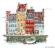 Sailor houses, Watercolor from Christianshavn, Copenhagen, Denmark