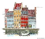 Sailor houses, Watercolor from Christianshavn, Copenhagen, Denmark