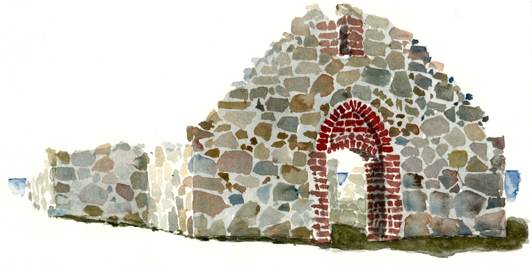 Salomon chapel. old ruins, at Hammeren nature reserve. Bornholm. Watercolor