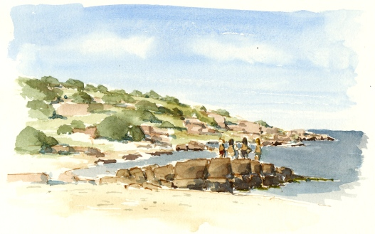 Sandvig Beach. Bornholm. Watercolor looking at Hammeren granite rocks