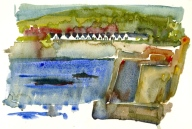 Sandvig harbour, before they removed the white structure to make a beach. Bornholm Watercolor