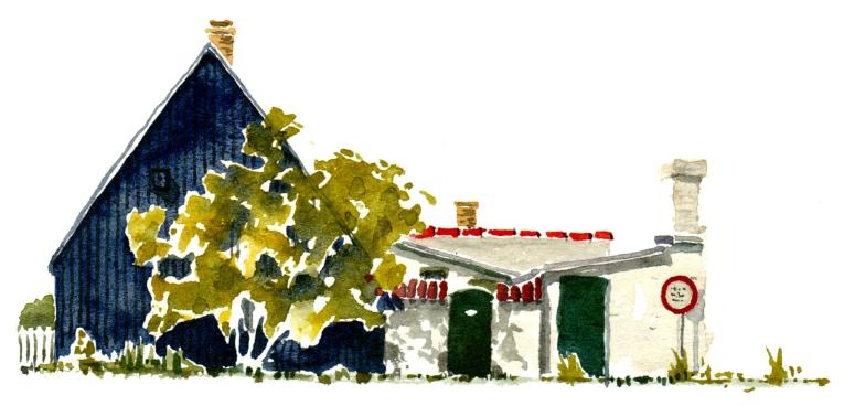 Fishing huts, Sandvig, Bornholm. Watercolor