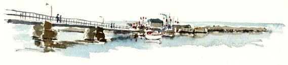 Snogebaek harbour, Bornholm, Watercolor