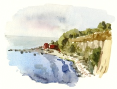 Sose, south coast of Bornholm. Watercolor