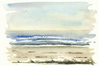 Beach south coast of Bornholm, Watercolor