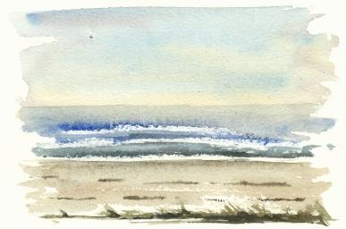 Beach south coast of Bornholm, Watercolor