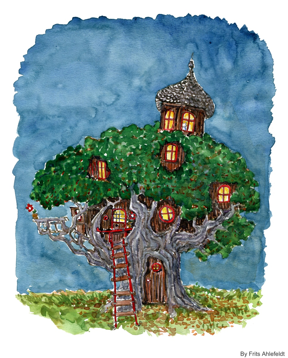 Drawing of a tree house with a cat
