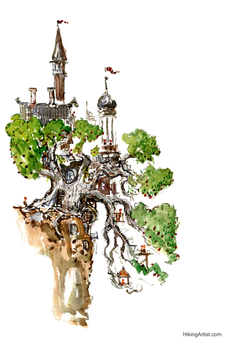 Watercolor sketch of a treehouse