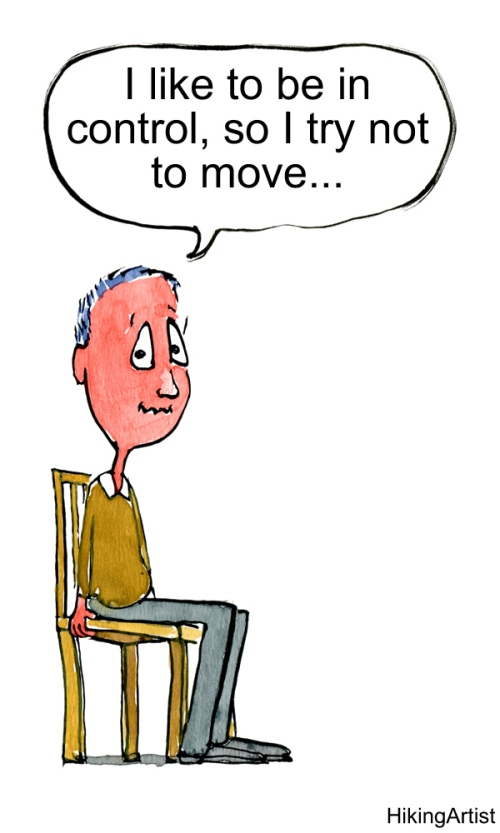 Drawing of a guy sitting tight on a chair