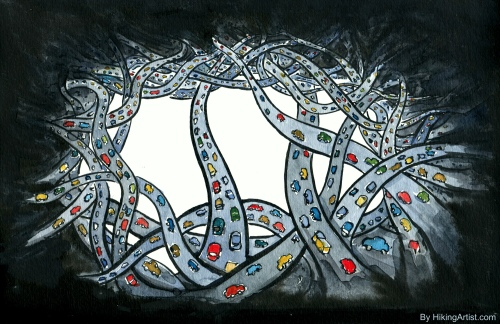 Dark version of the many roads illustration