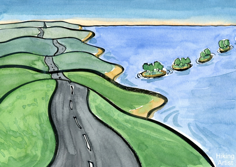 Drawing of a landscape with a highway and some stepping stones islands