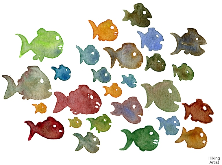 Watercolor of shoal of fish