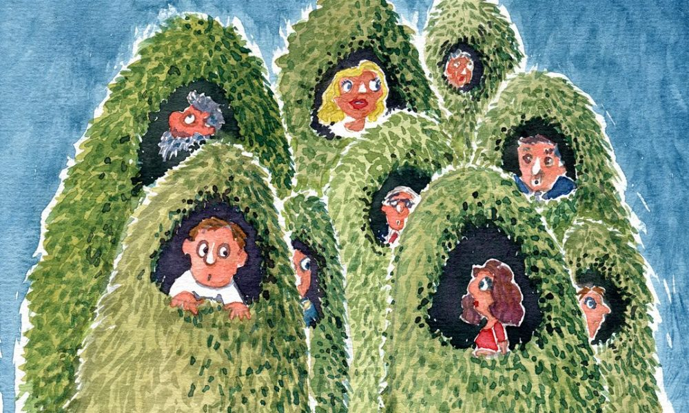 grass cocoons with people in them