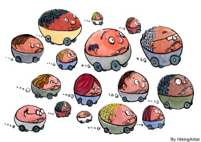 People in cars illustration