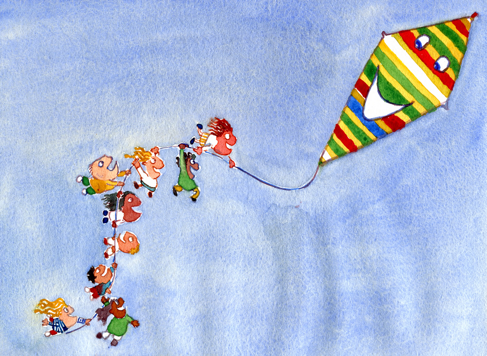 watercolor of kids holding on to a kite