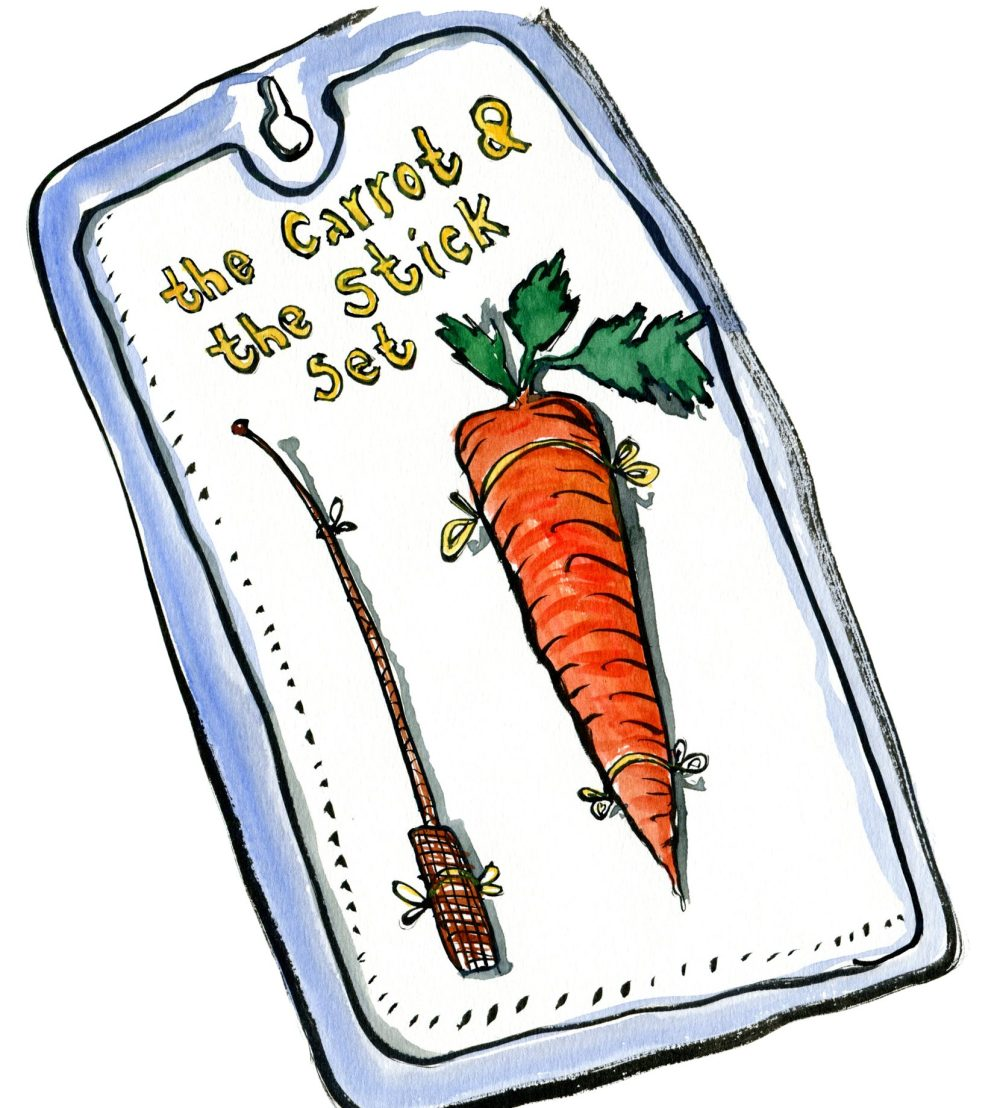 Illustration of a carrot and a Stick in a set