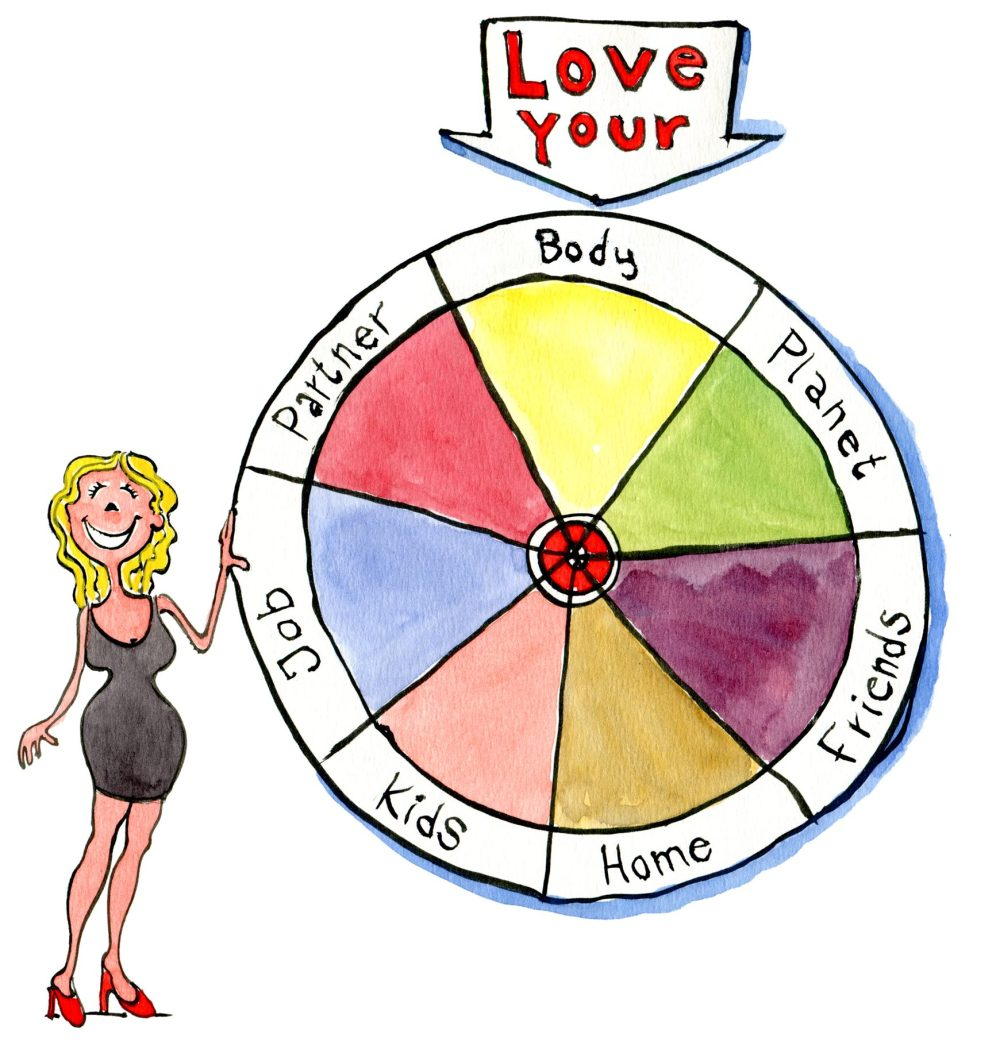 Woman at a roulette wheel of life