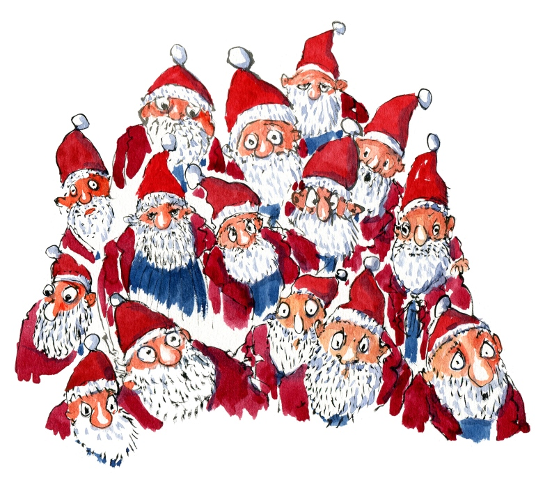 Group of Santa Claus guys