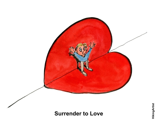Drawing of a guy surrendering to love