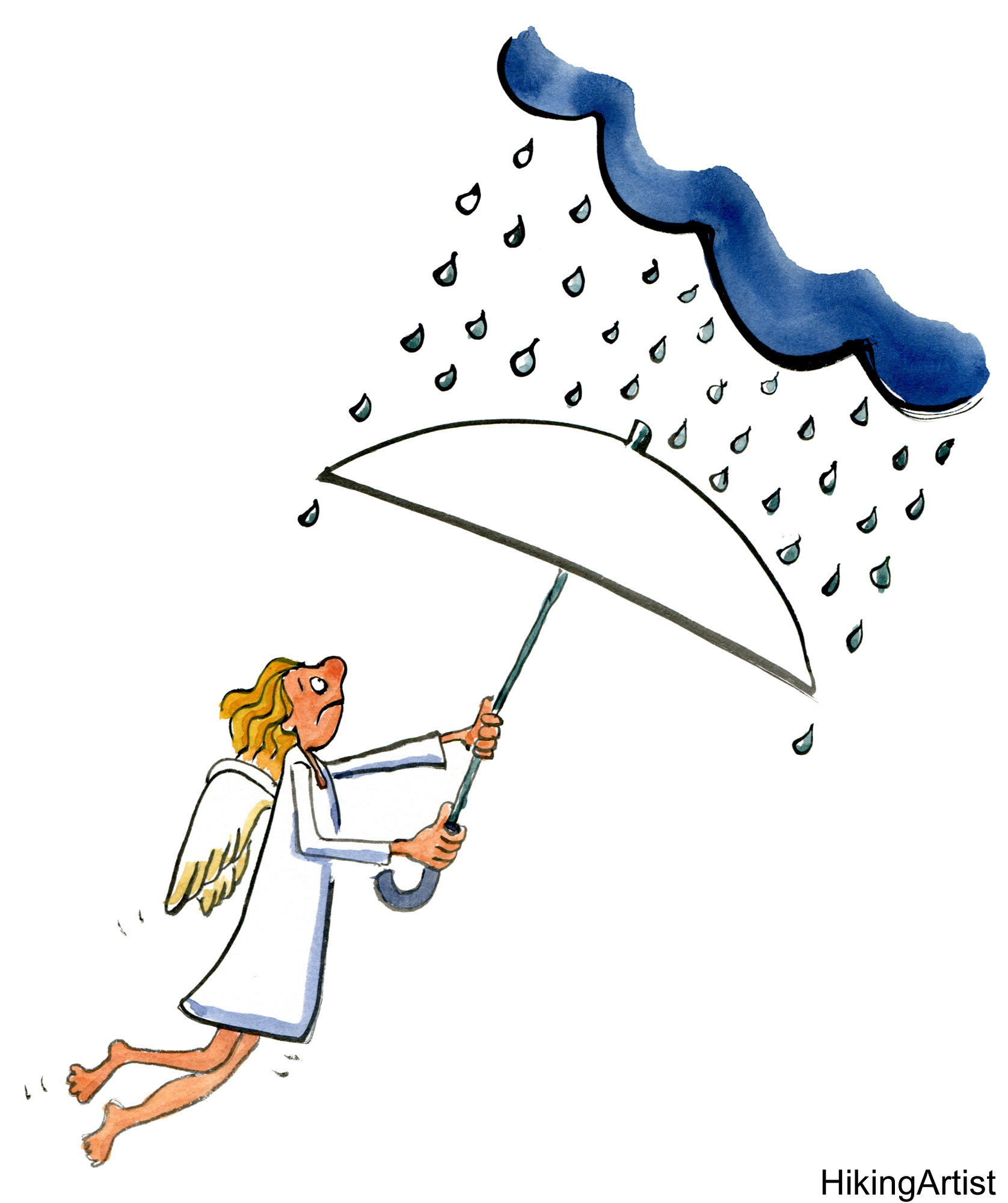 Angel with an umbrella