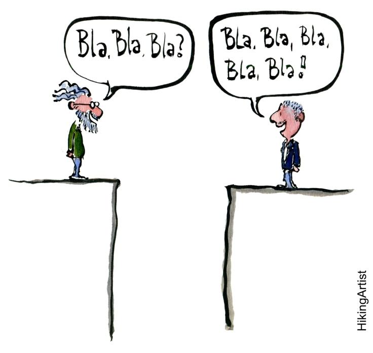 drawing of two men talking nonsense