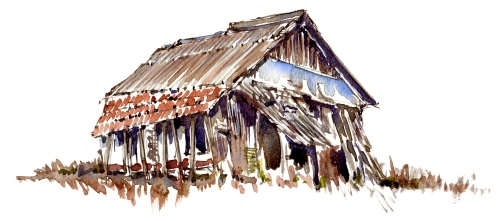 Watercolor sketch Shelter, old barn