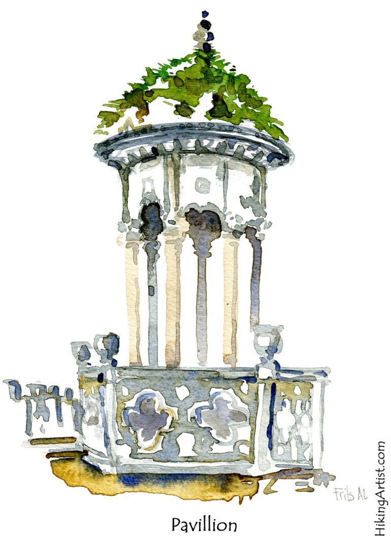 pavillion  watercolor sketch