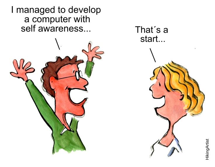 Computer man develop computer with self-awareness, god start says wife cartoon