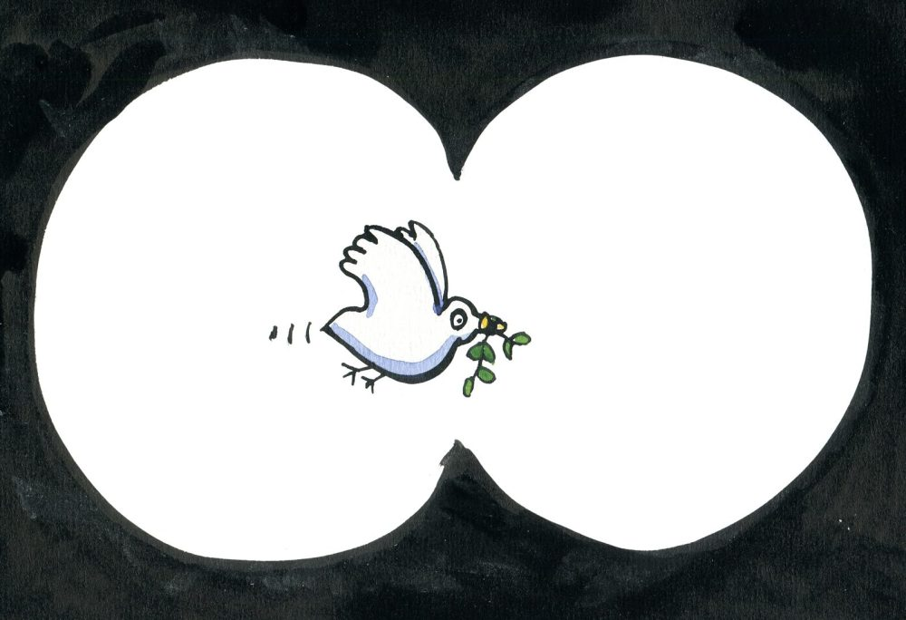 drawing of pigeon with leaf