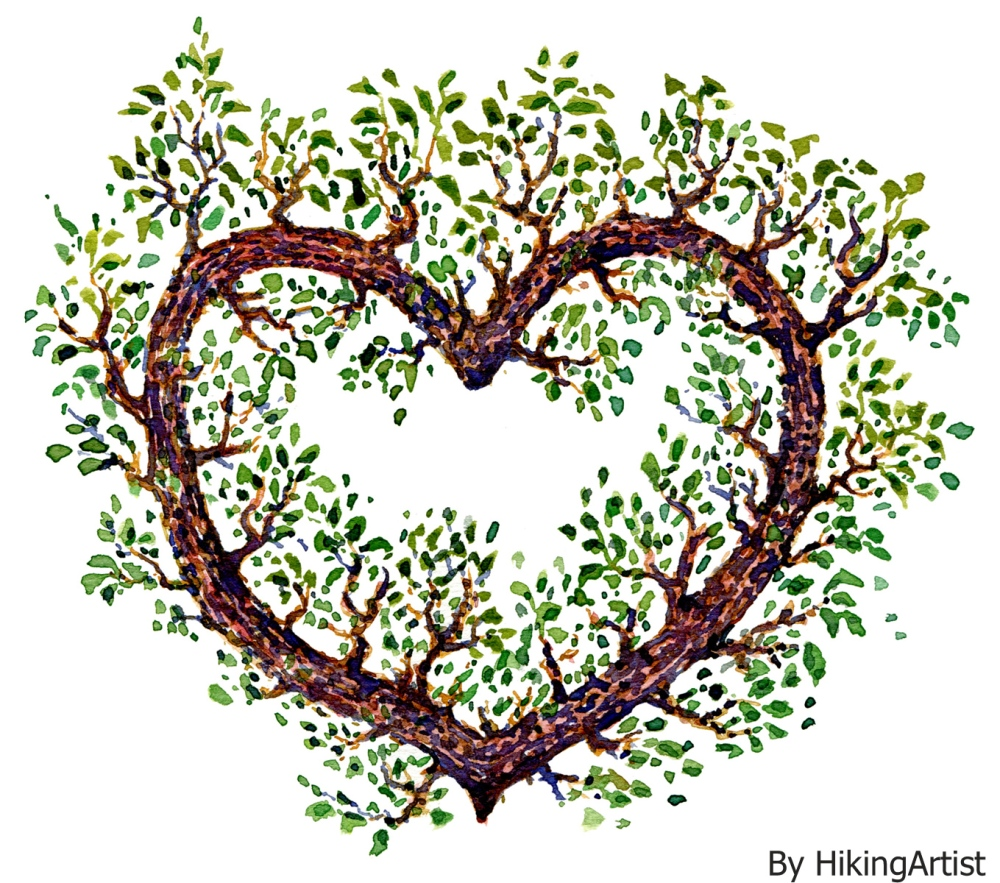 illustration of a heart with leaves