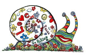 illustration of a snail with flowers, peace and love signs