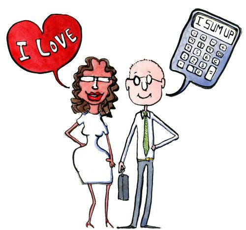 Drawing of a couple Girl Feeling, Guy Calculatiing