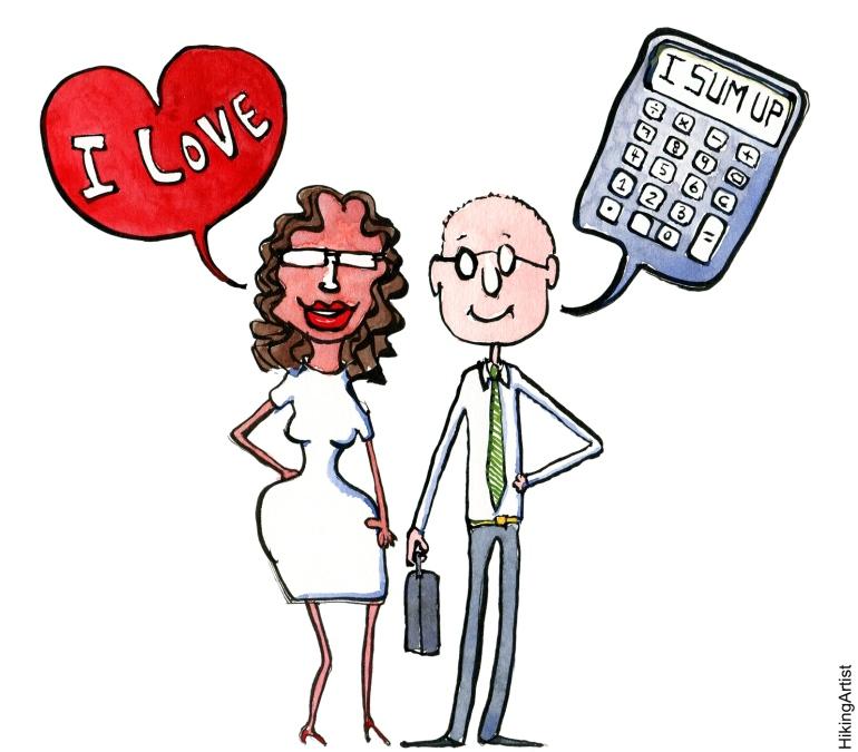 Drawing of a couple Girl Feeling, Guy Calculatiing