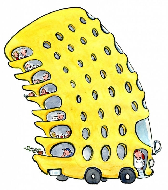 drawing of a yellow bus with multi decks