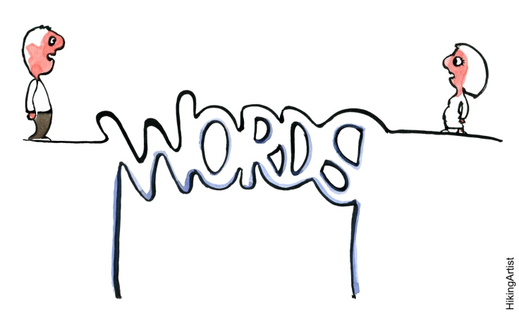 drawing of two people standing on each side of a word bridge