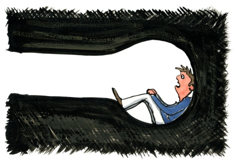 Man in a tunnel, looking out