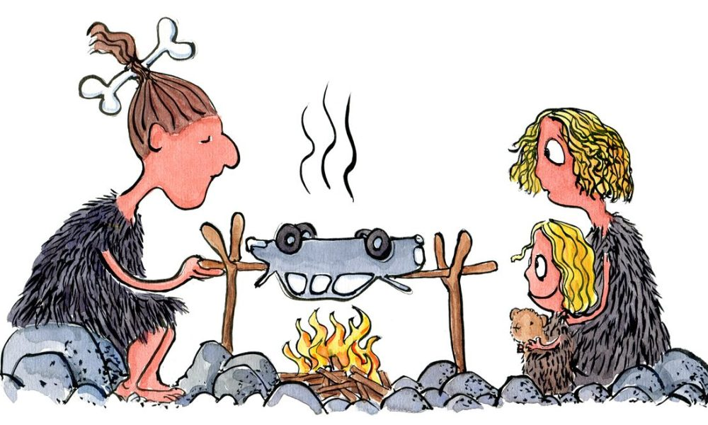 Two people trying to grill a car