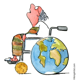 Scientist in earth wheelchair