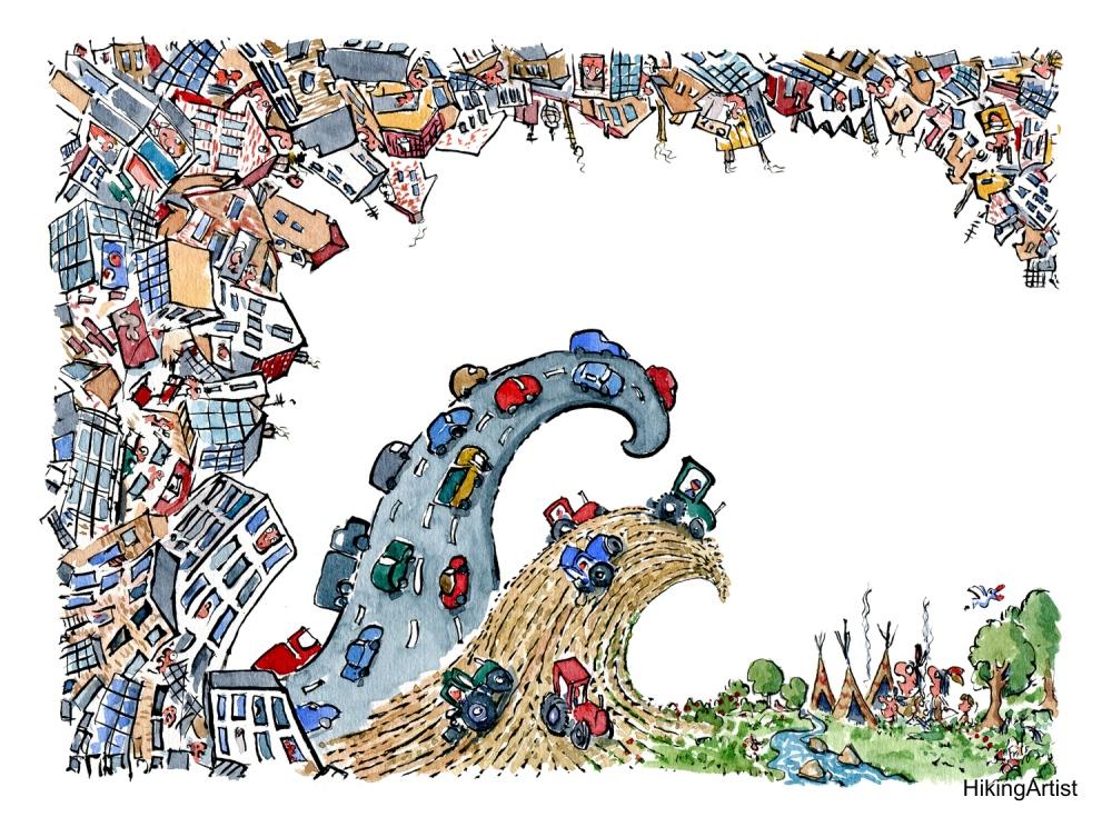 drawing of an big urban wave