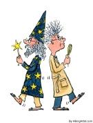 duel between scientist and magician