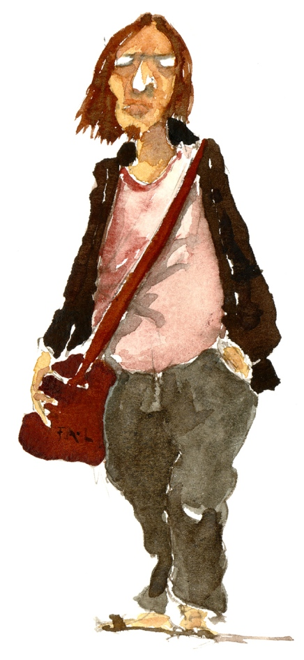Man with shoulderbag, watercolor