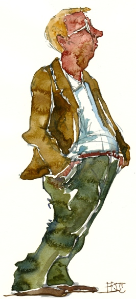 Man looking with hands in his pockets. Watercolor