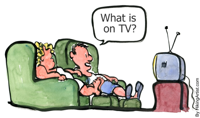 two people sitting watching TV