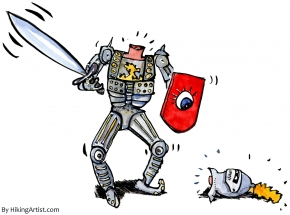 drawing of a guy with a double-edged sword and his head on the ground looking at him