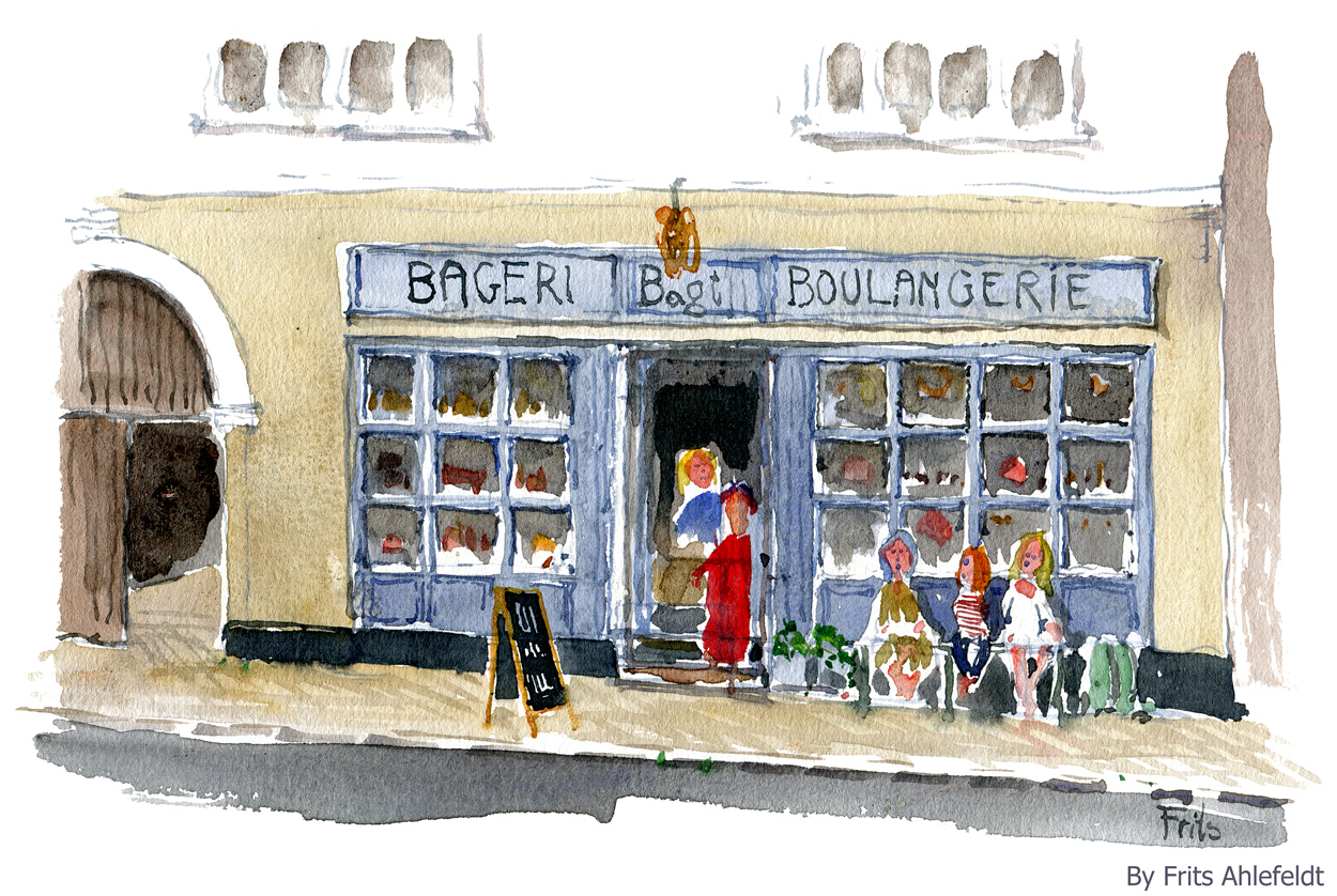 Watercolor bakery boulangerie hoernbeck the hiking - Dessin boulangerie patisserie ...