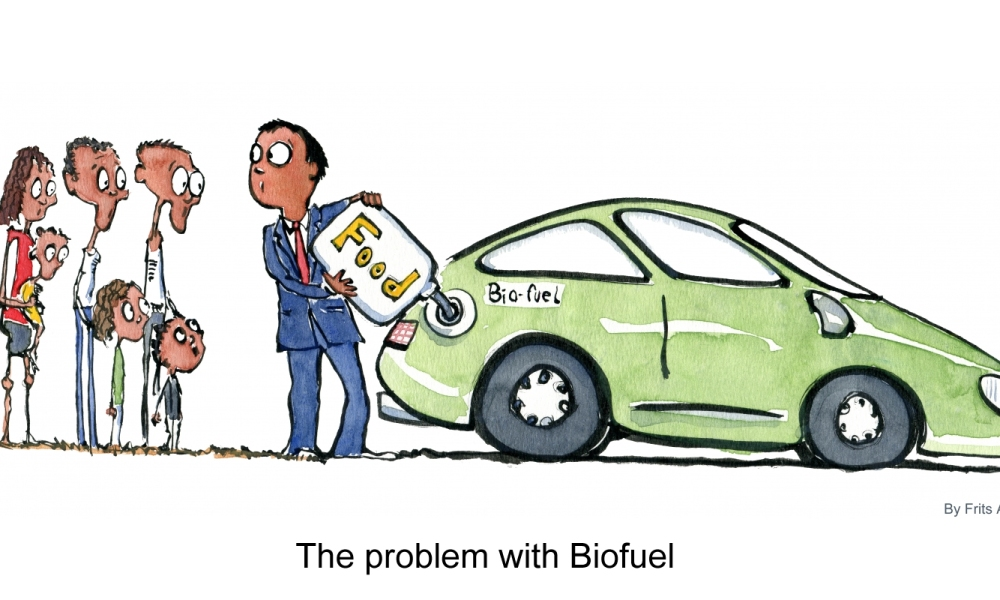 Biofuel car and hungry people watching it being fed