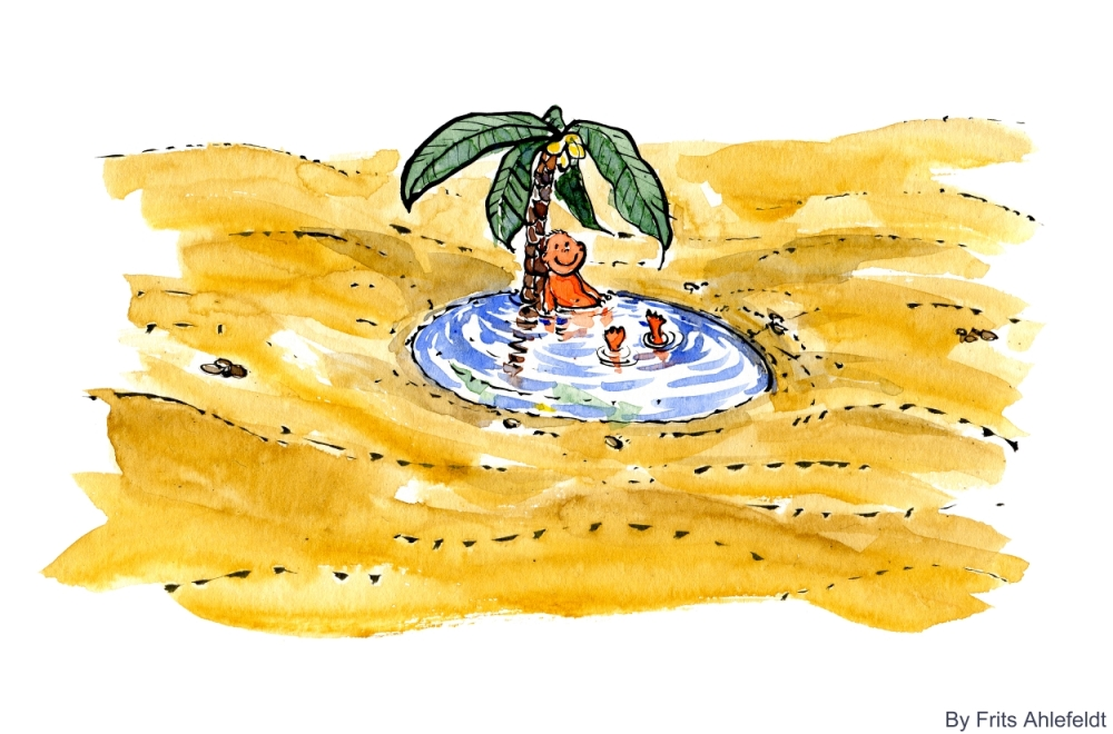 drawing of an water pool in a desert