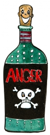 drawing of a man with a bottle as body and head smiling while it says anger on the bottle. Illustration