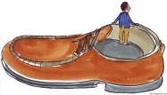 Man in a very big shoe illustration
